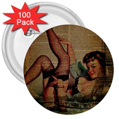 Vintage Newspaper Print Sexy Hot Pin Up Girl Paris Eiffel Tower 3  Button (100 Pack) by chicelegantboutique
