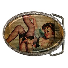Vintage Newspaper Print Sexy Hot Pin Up Girl Paris Eiffel Tower Belt Buckle (oval) by chicelegantboutique
