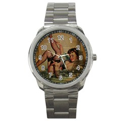 Vintage Newspaper Print Sexy Hot Pin Up Girl Paris Eiffel Tower Sport Metal Watch by chicelegantboutique
