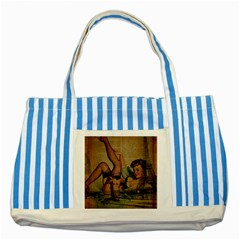 Vintage Newspaper Print Sexy Hot Pin Up Girl Paris Eiffel Tower Blue Striped Tote Bag by chicelegantboutique