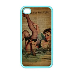 Vintage Newspaper Print Sexy Hot Pin Up Girl Paris Eiffel Tower Apple Iphone 4 Case (color) by chicelegantboutique