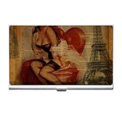 Vintage Newspaper Print Sexy Hot Gil Elvgren Pin Up Girl Paris Eiffel Tower Business Card Holder by chicelegantboutique