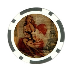 Vintage Newspaper Print Sexy Hot Gil Elvgren Pin Up Girl Paris Eiffel Tower Poker Chip by chicelegantboutique