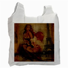 Vintage Newspaper Print Sexy Hot Gil Elvgren Pin Up Girl Paris Eiffel Tower Recycle Bag (two Sides) by chicelegantboutique
