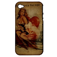 Vintage Newspaper Print Sexy Hot Gil Elvgren Pin Up Girl Paris Eiffel Tower Apple iPhone 4/4S Hardshell Case (PC+Silicone) by chicelegantboutique