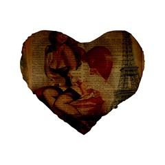 Vintage Newspaper Print Sexy Hot Gil Elvgren Pin Up Girl Paris Eiffel Tower 16  Premium Heart Shape Cushion  by chicelegantboutique