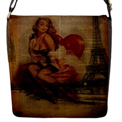 Vintage Newspaper Print Sexy Hot Gil Elvgren Pin Up Girl Paris Eiffel Tower Flap Closure Messenger Bag (small) by chicelegantboutique