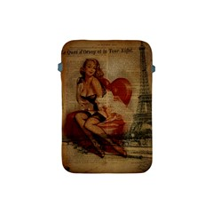 Vintage Newspaper Print Sexy Hot Gil Elvgren Pin Up Girl Paris Eiffel Tower Apple Ipad Mini Protective Soft Case by chicelegantboutique