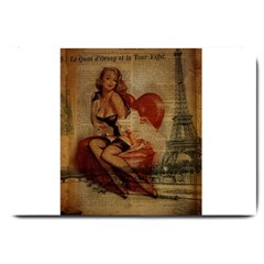 Vintage Newspaper Print Sexy Hot Gil Elvgren Pin Up Girl Paris Eiffel Tower Large Door Mat by chicelegantboutique