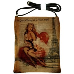 Vintage Newspaper Print Sexy Hot Gil Elvgren Pin Up Girl Paris Eiffel Tower Shoulder Sling Bag by chicelegantboutique