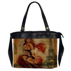 Vintage Newspaper Print Sexy Hot Gil Elvgren Pin Up Girl Paris Eiffel Tower Oversize Office Handbag (two Sides) by chicelegantboutique