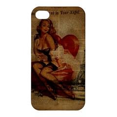 Vintage Newspaper Print Sexy Hot Gil Elvgren Pin Up Girl Paris Eiffel Tower Apple Iphone 4/4s Premium Hardshell Case by chicelegantboutique