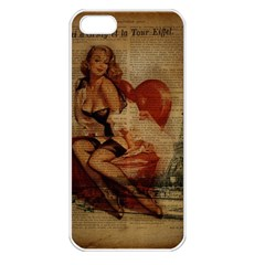 Vintage Newspaper Print Sexy Hot Gil Elvgren Pin Up Girl Paris Eiffel Tower Apple Iphone 5 Seamless Case (white) by chicelegantboutique