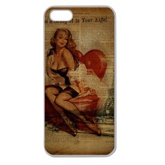 Vintage Newspaper Print Sexy Hot Gil Elvgren Pin Up Girl Paris Eiffel Tower Apple Seamless Iphone 5 Case (clear) by chicelegantboutique