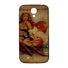 Vintage Newspaper Print Sexy Hot Gil Elvgren Pin Up Girl Paris Eiffel Tower Samsung Galaxy S4 I9500/i9505  Hardshell Back Case by chicelegantboutique