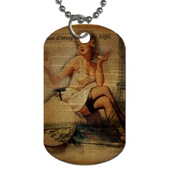 Vintage Newspaper Print Sexy Hot Gil Elvgren Pin Up Girl Paris Eiffel Tower Dog Tag (two Sided)  by chicelegantboutique