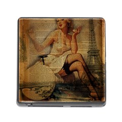 Vintage Newspaper Print Sexy Hot Gil Elvgren Pin Up Girl Paris Eiffel Tower Memory Card Reader with Storage (Square) by chicelegantboutique