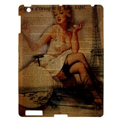 Vintage Newspaper Print Sexy Hot Gil Elvgren Pin Up Girl Paris Eiffel Tower Apple Ipad 3/4 Hardshell Case by chicelegantboutique