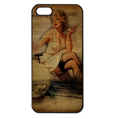 Vintage Newspaper Print Sexy Hot Gil Elvgren Pin Up Girl Paris Eiffel Tower Apple Iphone 5 Seamless Case (black) by chicelegantboutique