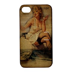 Vintage Newspaper Print Sexy Hot Gil Elvgren Pin Up Girl Paris Eiffel Tower Apple Iphone 4/4s Hardshell Case With Stand by chicelegantboutique