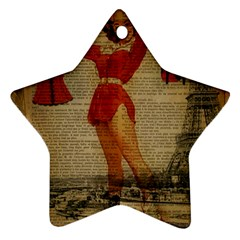 Vintage Newspaper Print Sexy Hot Gil Elvgren Pin Up Girl Paris Eiffel Tower Western Country Naughty  Star Ornament by chicelegantboutique
