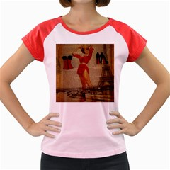 Vintage Newspaper Print Sexy Hot Gil Elvgren Pin Up Girl Paris Eiffel Tower Western Country Naughty  Women s Cap Sleeve T Shirt (colored) by chicelegantboutique