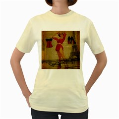 Vintage Newspaper Print Sexy Hot Gil Elvgren Pin Up Girl Paris Eiffel Tower Western Country Naughty   Womens  T Shirt (yellow) by chicelegantboutique