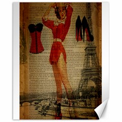 Vintage Newspaper Print Sexy Hot Gil Elvgren Pin Up Girl Paris Eiffel Tower Western Country Naughty  Canvas 16  X 20  (unframed) by chicelegantboutique