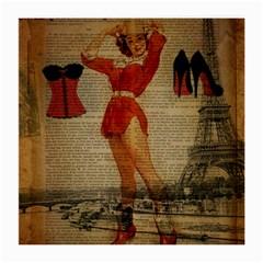 Vintage Newspaper Print Sexy Hot Gil Elvgren Pin Up Girl Paris Eiffel Tower Western Country Naughty  Glasses Cloth (medium, Two Sided) by chicelegantboutique