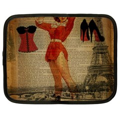 Vintage Newspaper Print Sexy Hot Gil Elvgren Pin Up Girl Paris Eiffel Tower Western Country Naughty  Netbook Case (large) by chicelegantboutique