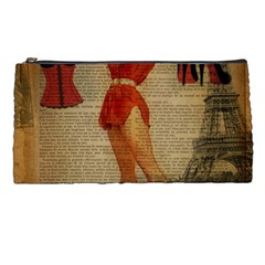 Vintage Newspaper Print Sexy Hot Gil Elvgren Pin Up Girl Paris Eiffel Tower Western Country Naughty  Pencil Case by chicelegantboutique