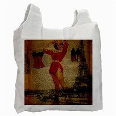 Vintage Newspaper Print Sexy Hot Gil Elvgren Pin Up Girl Paris Eiffel Tower Western Country Naughty  Recycle Bag (two Sides) by chicelegantboutique