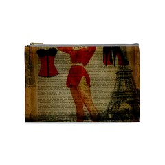 Vintage Newspaper Print Sexy Hot Gil Elvgren Pin Up Girl Paris Eiffel Tower Western Country Naughty  Cosmetic Bag (medium) by chicelegantboutique