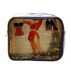 Vintage Newspaper Print Sexy Hot Gil Elvgren Pin Up Girl Paris Eiffel Tower Western Country Naughty  Mini Travel Toiletry Bag (one Side) by chicelegantboutique
