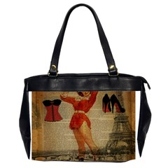 Vintage Newspaper Print Sexy Hot Gil Elvgren Pin Up Girl Paris Eiffel Tower Western Country Naughty  Oversize Office Handbag (two Sides) by chicelegantboutique