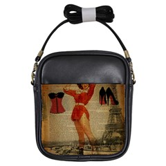 Vintage Newspaper Print Sexy Hot Gil Elvgren Pin Up Girl Paris Eiffel Tower Western Country Naughty  Girl s Sling Bag by chicelegantboutique