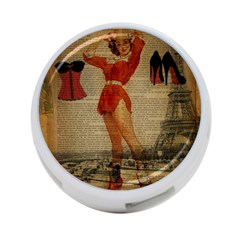 Vintage Newspaper Print Sexy Hot Gil Elvgren Pin Up Girl Paris Eiffel Tower Western Country Naughty  4 Port Usb Hub (two Sides) by chicelegantboutique