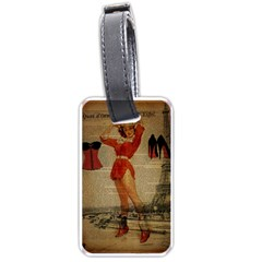Vintage Newspaper Print Sexy Hot Gil Elvgren Pin Up Girl Paris Eiffel Tower Western Country Naughty  Luggage Tag (one Side) by chicelegantboutique