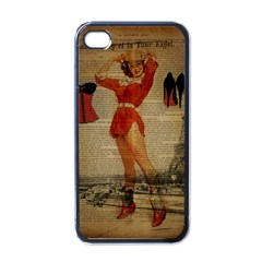 Vintage Newspaper Print Sexy Hot Gil Elvgren Pin Up Girl Paris Eiffel Tower Western Country Naughty  Apple Iphone 4 Case (black) by chicelegantboutique