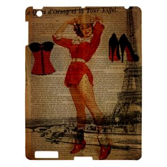 Vintage Newspaper Print Sexy Hot Gil Elvgren Pin Up Girl Paris Eiffel Tower Western Country Naughty  Apple Ipad 3/4 Hardshell Case by chicelegantboutique