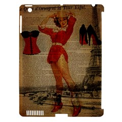 Vintage Newspaper Print Sexy Hot Gil Elvgren Pin Up Girl Paris Eiffel Tower Western Country Naughty  Apple Ipad 3/4 Hardshell Case (compatible With Smart Cover) by chicelegantboutique