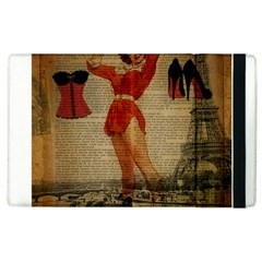 Vintage Newspaper Print Sexy Hot Gil Elvgren Pin Up Girl Paris Eiffel Tower Western Country Naughty  Apple Ipad 2 Flip Case by chicelegantboutique