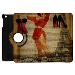 Vintage Newspaper Print Sexy Hot Gil Elvgren Pin Up Girl Paris Eiffel Tower Western Country Naughty  Apple Ipad Mini Flip 360 Case by chicelegantboutique