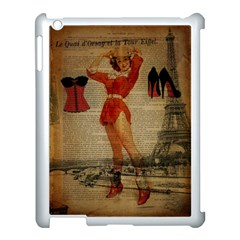 Vintage Newspaper Print Sexy Hot Gil Elvgren Pin Up Girl Paris Eiffel Tower Western Country Naughty  Apple Ipad 3/4 Case (white) by chicelegantboutique