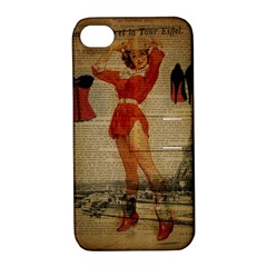 Vintage Newspaper Print Sexy Hot Gil Elvgren Pin Up Girl Paris Eiffel Tower Western Country Naughty  Apple Iphone 4/4s Hardshell Case With Stand by chicelegantboutique
