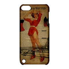 Vintage Newspaper Print Sexy Hot Gil Elvgren Pin Up Girl Paris Eiffel Tower Western Country Naughty  Apple Ipod Touch 5 Hardshell Case With Stand by chicelegantboutique