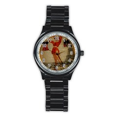 Vintage Newspaper Print Sexy Hot Gil Elvgren Pin Up Girl Paris Eiffel Tower Western Country Naughty  Sport Metal Watch (black) by chicelegantboutique