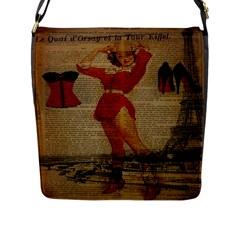 Vintage Newspaper Print Sexy Hot Gil Elvgren Pin Up Girl Paris Eiffel Tower Western Country Naughty  Flap Closure Messenger Bag (large) by chicelegantboutique
