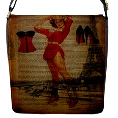 Vintage Newspaper Print Sexy Hot Gil Elvgren Pin Up Girl Paris Eiffel Tower Western Country Naughty  Flap Closure Messenger Bag (small) by chicelegantboutique