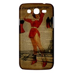Vintage Newspaper Print Sexy Hot Gil Elvgren Pin Up Girl Paris Eiffel Tower Western Country Naughty  Samsung Galaxy Mega 5 8 I9152 Hardshell Case  by chicelegantboutique